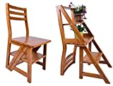 Brown Wooden Folding Chairs AlienTech Natural Wood Multi-Functional Convertible Folding Library Ladder Chair Four-Step Stool