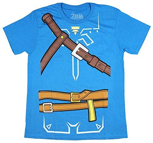 Bioworld Zelda Breath of The Wild Adult Cosplay Men's T-Shirt (X-Large) Blue