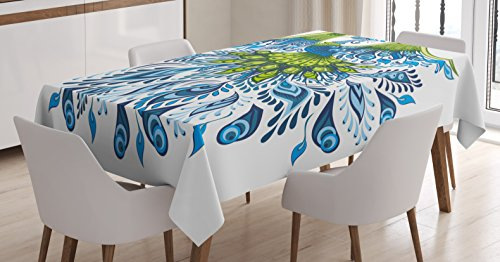(Ambesonne Peacock Tablecloth, Abstract Exotic Bird Figure with Stylized Long Tail and Wings Floral Swirled Leaves, Dining Room Kitchen Rectangular Table Cover, 60 W X 90 L Inches, Blue)