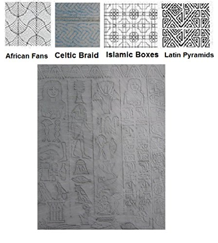 Cultural C Set - Polymer Clay Texture plates 4 Qtr page Patterns & Egyptian Sheet