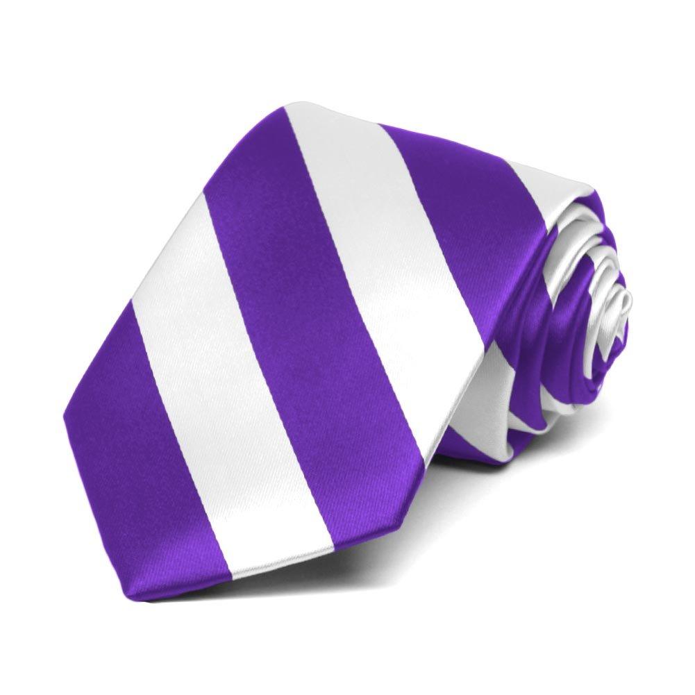 TieMart Boys Purple and White Striped Tie