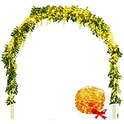 Wisteria Artificial Flowers- 4 Pcs Silk Wisteria Vines with Led String Lights, Total 28FT Hanging Flower Garland for Wedding Arch Party Home Decoration