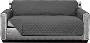 Sofa Shield Original Patent Pending Reversible Large Sofa Protector, Many Colors, Seat Width to 70 Inch, Furniture Slipcover, 2 Inch Strap, Couch Slip Cover Throw for Pet Dogs, Cats, Charcoal