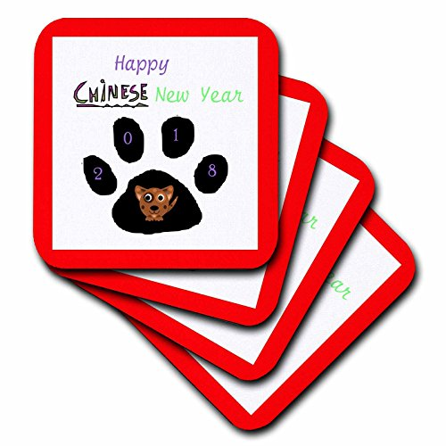 3dRose Chinese New Year - Image of Happy Chinese New Year 2018 With Dog Paw - set of 4 Coasters - Soft (Chinese New Year Home Decorations)