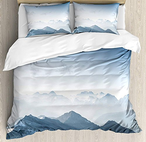 Ice Rock Climbing - Mountain Full Bedding Duvet Cover Set, 4 Piece Hotel Quality Luxury Soft Brushed Microfiber, Foggy Scenic Morning in Rock Mountain Region in Northern Hiking Climbing Ice Photo