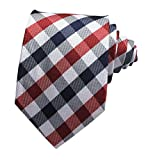 Secdtie Men's Slim Check Stripe Silk Ties Jacquard Formal Plaid Necktie for Gift (One Size, Navy Red White)