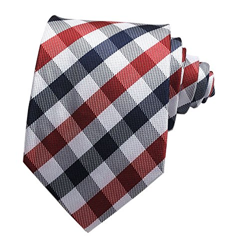 - Secdtie Men's Slim Check Stripe Silk Ties Jacquard Formal Plaid Necktie for Gift (One Size, Navy Red White)