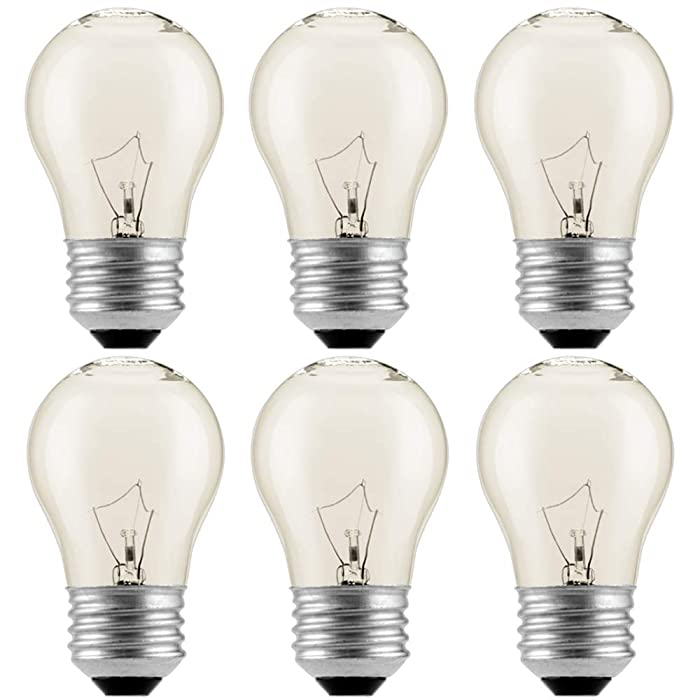 (6-Pack)Appliance Oven Refrigerator Bulbs, Appliance Light Bulb, High Temp - 120v Clear E27/E26 Medium Base,40 Watt,Oven Light Bulb - G45