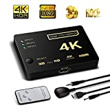 HDMI Switcher 3X1, 4K Support HDCP 1080p Mini 3 in 1 out HDMI Swicth HDMI Splitter Intelligent 4 Port 4K HDMI Audio Switcher Selector Splitter Amplifier Adapter with IR Remote for Mac PCs XBOX TVs
