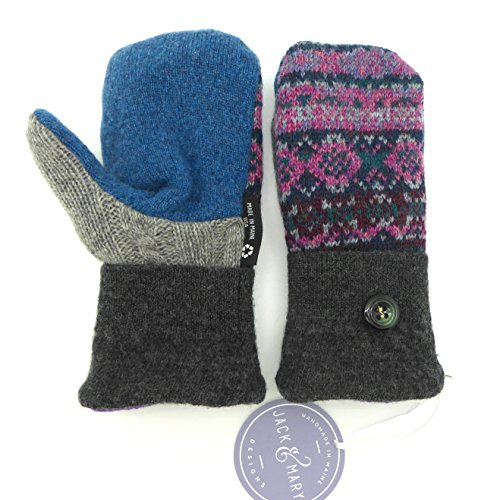 Jack & Mary Designs Handmade Kids Fleece-Lined Wool Mittens, Made from Recycled Sweaters in the USA (Gray/Blue/Pink, Medium/Large)