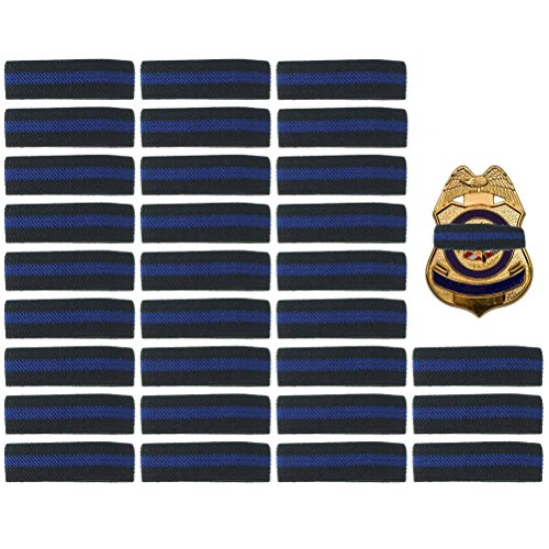 30 Pack Thin Blue Line Police Mourning Band Stripe Police Officer Badge Shield Funeral Honor Guard Straps, -