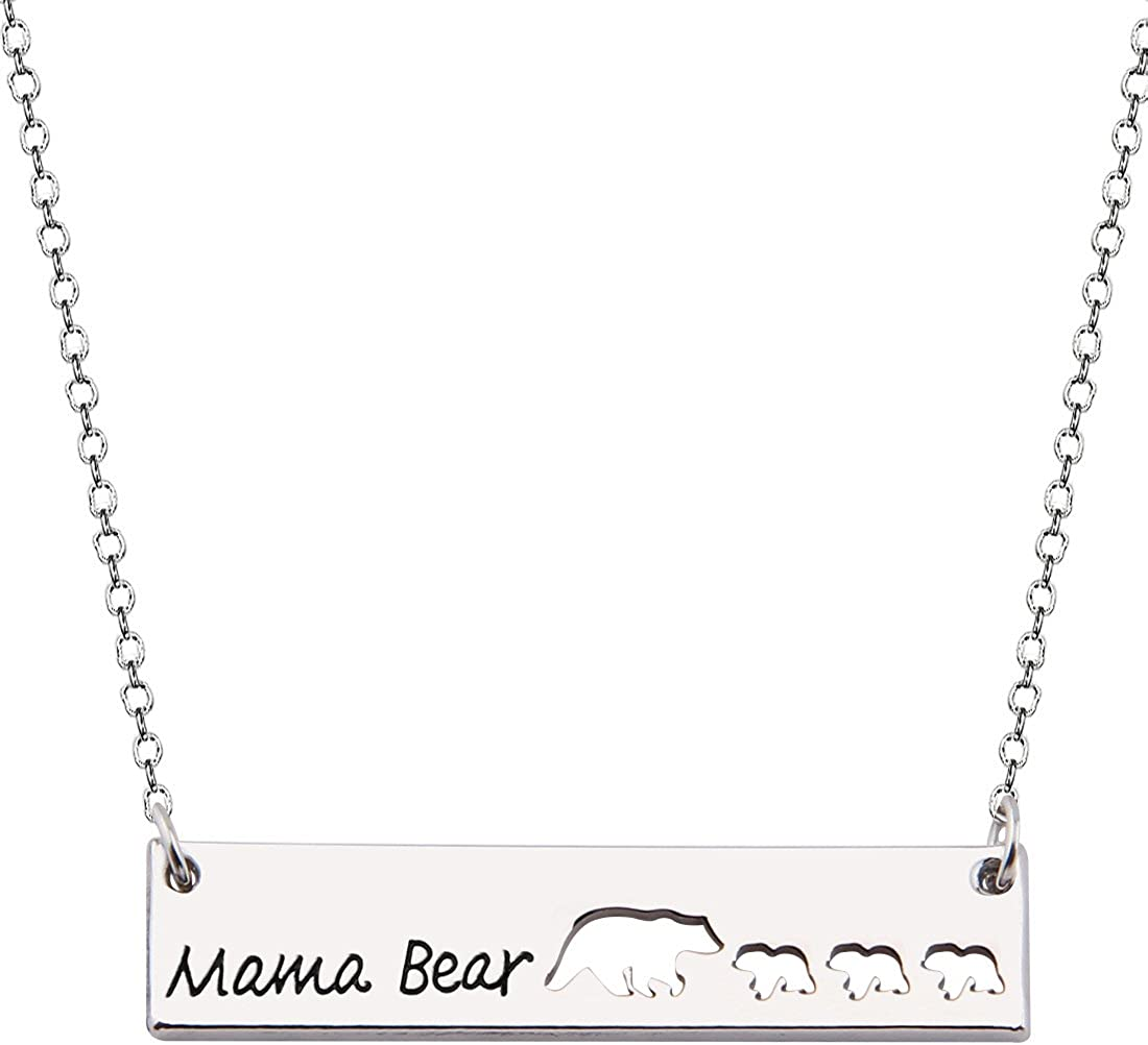 KUIYAI Sweet Family Mama Bear Necklace Bracelet Bangle Gift for Mothers Grandma