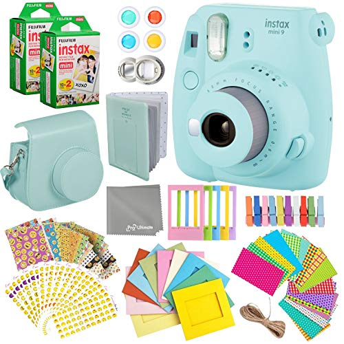 Fujifilm Instax Mini 9 Ice Blue Instant Camera Kit – 40 Film Sheets, Carrying Case, Photo Album, Assorted Frames, Stickers and Accessories – Built-in Flash and Batteries Included