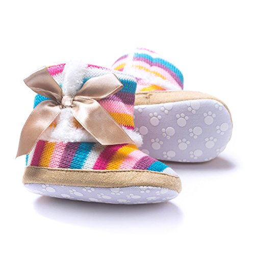 Iversan Baby Girl striation Rainbow Cotton Knit Premium Soft Sole Anti Slip Warm Winter Infant Prewalker Toddler Cute Snow Boots With Bowknot (S:0-6 Months) For Sale
