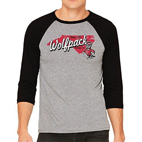 - NCAA North Carolina State Wolfpack Men's 3/4 Baseball Tee, Large, Heather/Black