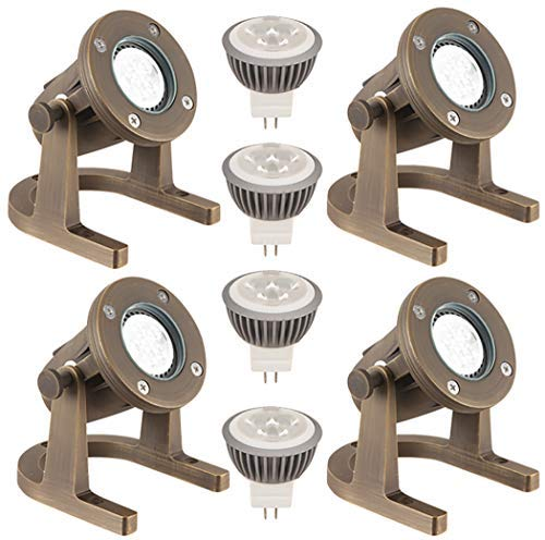 LFU 4 Pack of Solid Brass Constructed Underwater/Pond/Fountain Lights, with 4 LED MR16 5W Warm White Bulbs. Low Voltage. LF4007AB Tacoma Model.