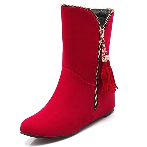 HiTime Botas Mocasines de Ante Mujer, Color Rojo, Talla 36.5: Amazon.es: Zapatos y complementos