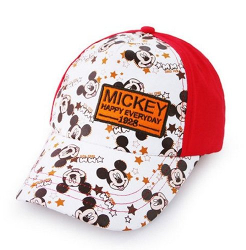Disney Mickey Mouse Baby Hat Unisex Children Visor Cap Kids Baseball Cap (54cm(21.2inch), Red)