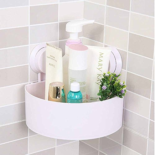 TheBathMart Bathroom Wall Corner Suction Cup Triangle Storage Shelves Rack - White