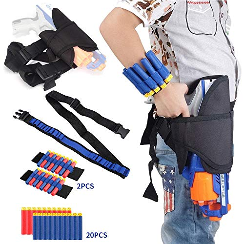 Holster Belt Kit for Nerf N-Strike Elite Series - Accessories Includes Holster Waist Bag, Bandolier Strap, 2 Pcs Wrist Ammo Holder, & 20 Refill -
