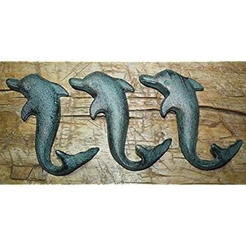 6 Cast Iron NAUTICAL Coat Hooks Hat Hook Rack Hall Tree Restoration DOLPHIN FISH