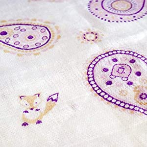 Muslin Swaddle Blankets for Newborn Baby Girls | Unique Pink Floral Paisley Design with Woodland Creatures incl. Fox, Bear, Bunny Rabbit | Mix-Pack with Both Cotton and Bamboo | XL 47inches | 3-Pack