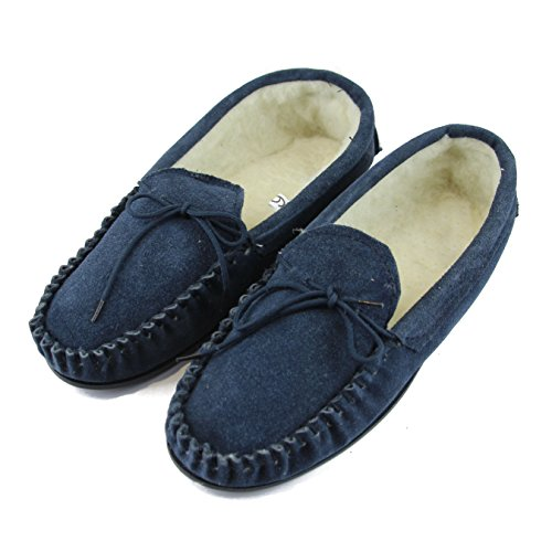Sole Moccasin with Suede Hard Slippers Navy Lambswool Upper Ladies Deluxe qEOYUq