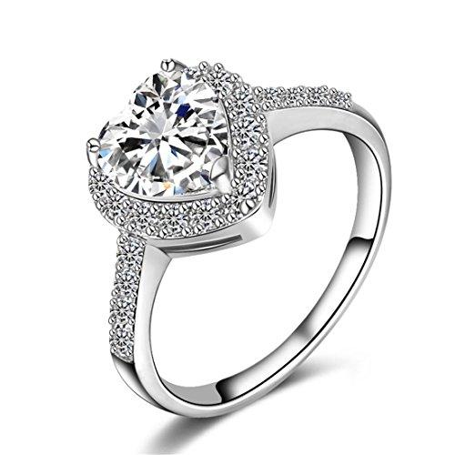 Mayfun Shiny Jewelry Heart Shaped Faux Diamond Band Ring for Girls Women (Silver, 7) - Emerald Heart Shaped Ring