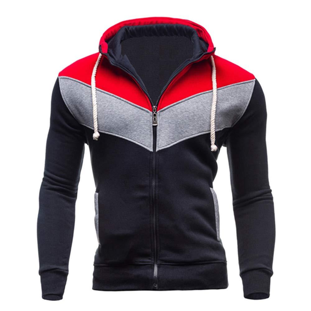 Mens Long Sleeve Splicing Sweatshirt,Autumn Winter Casual Zipper Hoodie Coat Top (XXL, Black)