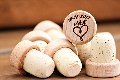 50 pcs Personalized Engraved Wine Stoppers Bulk by With the Grain Weddings