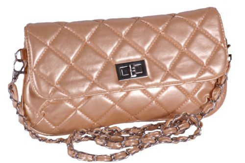 EyeCatchBags - Garbo Faux Leather Quilted Clutch Cross Body Bag Shoulder Bag Gold