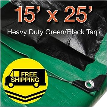 Super Heavy Duty Green//Black Poly Tarp 10 x 12