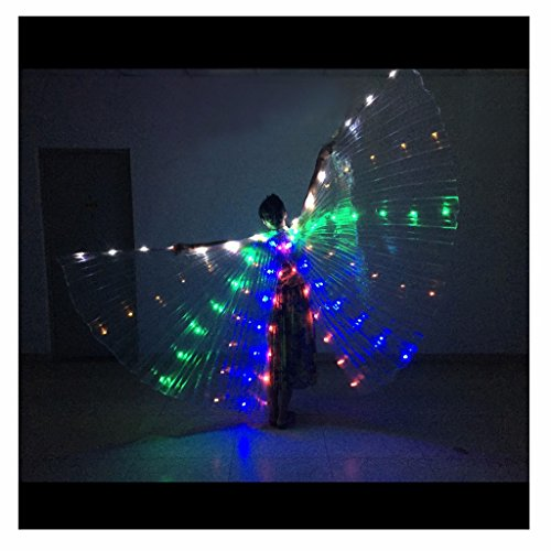 [Pilot-trade Women's Belly Dance Costume Opening Angle LED Isis Wings No Stick] (Led Light Dance Costumes)