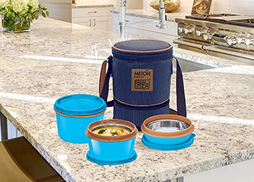 Milton Flexi Insulated Inner Stainless Steel Lunch Box Set of 3 Containers, Blue Price & Reviews