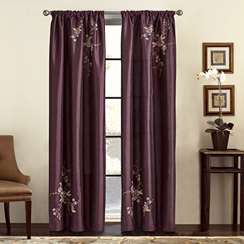 Curtains Eggplant (CHF & You Alesandra Floral Embroidered Faux Silk Window Curtain Panel, Purple, 44-Inch X 84-Inch)