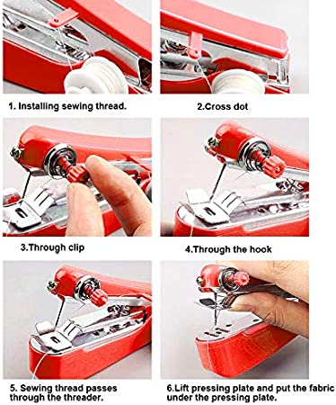Handheld Sewing Machine Handy Stitch Embroidery Tool DIY Hand Clothes Fabrics Sewing for Home Travel Use