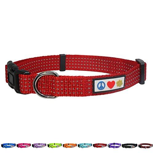 Pawtitas Stitching Dog Collar Puppy Collar Red Collar Reflective Dog Collar Small Dog Collar Red Dog Collar