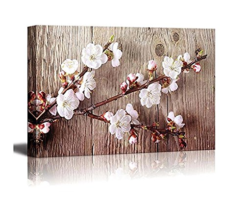 Sunshine baby Canvas printing wall art - a branch with cherry blossoms/a distinctive style of home decoration in the old wood background. (Plum Blossom, 24