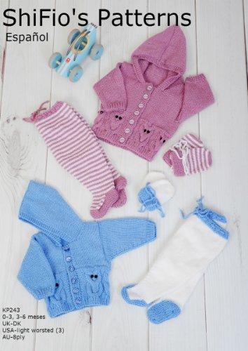 patrón para dos agujas – KP243- chaqueta matinée, leggins y sombrero para bebé (