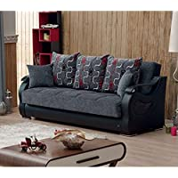 BEYAN Arizona Collection Upholstered Convertible Folding Sofa Bed with Storage Space Includes 2 Pillows, Gray