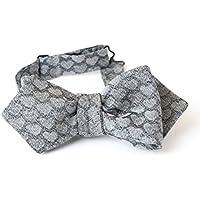 Bow Tie, Selftie, Men, Boy, Unisex, Adjustable, Hook, Grey, Silver, Heart, Silk, One size, Italian Fabric, Italian Style, Handmade