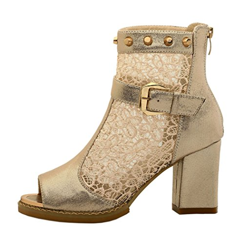 WUXING Women's Lei Mesh Buckle Rivet Lace With Fish Mouth Pumps(8 B(M)US, beige)