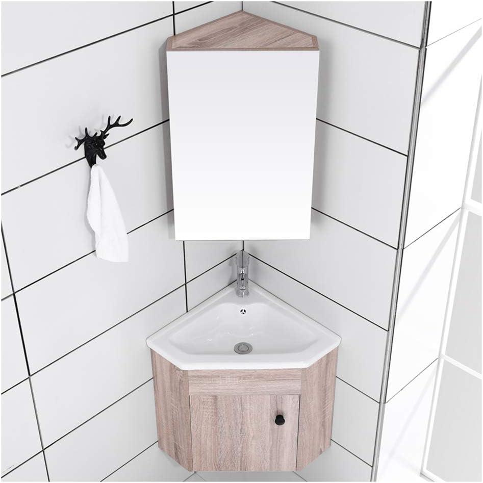 Lcf Corner Bathroom Mirror Cabinet With Triangular Locker 0 5 Basin Tempered Glass Bathroom Basin Ball Valve Drainage Fitting Removable Basin Stand Mdf A Amazon De Home Kitchen