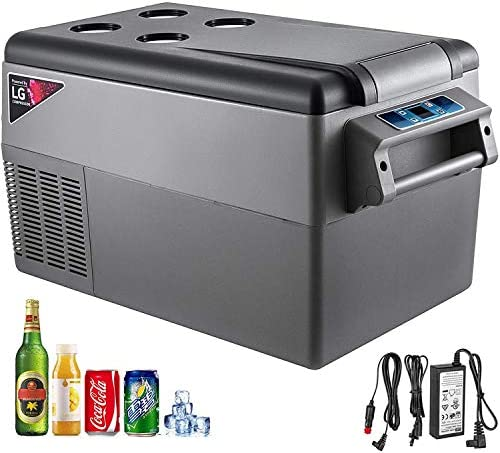 VBENLEM 35L Compressor Portable Small Refrigerator 12V DC and 110V AC Car Refrigerator Freezer Vehicle Car Truck RV Boat Mini Electric Cooler for Driving Travel Fishing Outdoor and Home Use