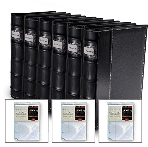 Bellagio-Italia Black Leather Disc Storage Binder Perfect For CDs, DVDs, Blu-Rays, and Video Games. 6 pack includes 24 additional insert sheets - set holds 352 discs (Handstands Cd)