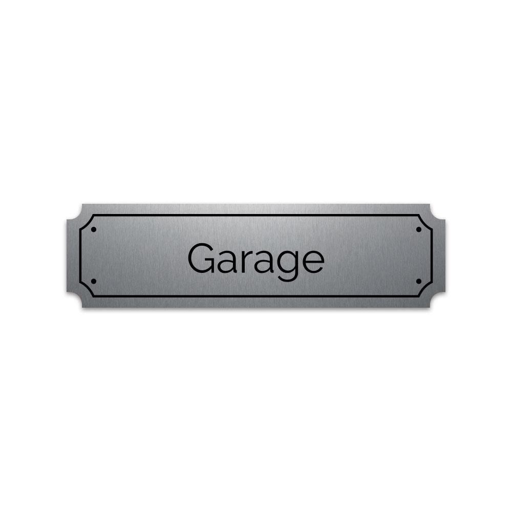 Plaque grav/ée autocollante 14,5x4cm Garage fond alu bross/é
