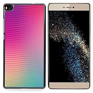 For HUAWEI P8 - Lines Waves Purple Teal Peach Blurry /Modelo de la piel protectora de la cubierta del caso/ - Super Marley Shop -