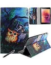 Galaxy Tab A 8.0 2017 Case, Newshine PU Leather Stand Folio [Card Slots] Case Cover with Auto Sleep/Wake Up for Samsung Galaxy Tab A 8.0 inch Tablet 2017 Release (SM-T380/T385), Forest Owls