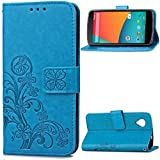 "LG Nexus 5(4.95"")case,Google 5 case,Bujing Blue Pattern Synthetic Leather+Soft TPU Printing Stand Card Slot Wallet Case Only For LG Nexus 5/Google 5(4.95"")(2013)"