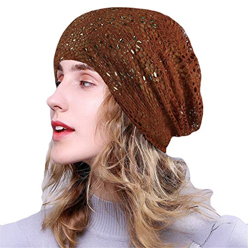 hositor Hat for Women, Women Soild India Lace Stretch Turban Hat Knitting Hair Loss Head Scarf Wrap Brown]()